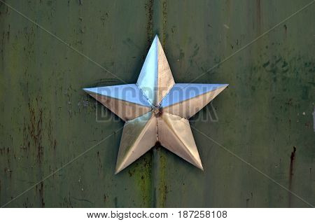 Iron Star. The gate of Chernobyl-2.Duga radar. Russian woodpecker. Legacy of ex Soviet cold war times. Chernobyl exclusion zone. Zone of radioactivity.May 19, 2017.Kiev region.Ukraine