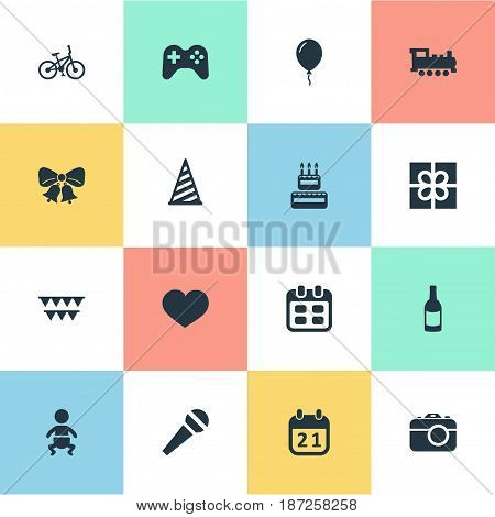 Vector Illustration Set Of Simple Birthday Icons. Elements Aerostat, Camera, Resonate And Other Synonyms Cap, Resonate And Cake.