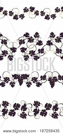 Set of seamless ornaments with vines of grapes. Boarders with vines for backgrounds, print, textiles, labels.