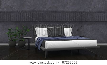 Modern minimalist monochrome bedroom interior with dark grey walls and floor, potted plants and a simple double divan style bed with pillow and a throw rug in a 3d rendering