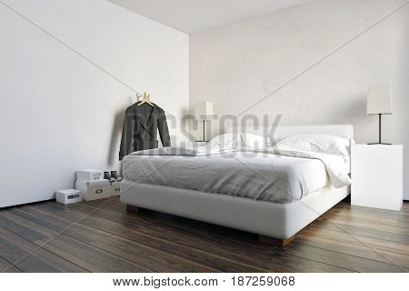 Modern spacious white bedroom interior with a wooden parquet floor, neat double bed and bedside cabinets with lamps with a coat rack in a 3d rendering