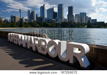 #operaharbour title for selfies. View of Sydney's skyline and Sydney Harbour from Royal Botanic Garden.