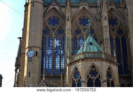 Cathedral Saint-Etienne of Metz (detail of the building)
