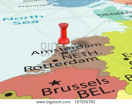 Pushpin On Amsterdam Map 3D Illustration