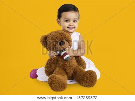 Little Girl Brown Teddy Concept