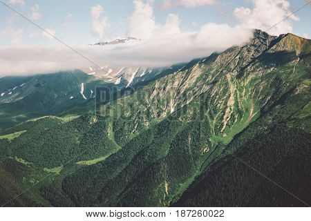 Mountains and forest Landscape Summer Travel serene scenic aerial view