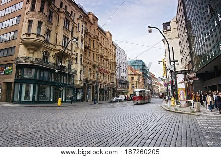 Praha, Czech Republic - May 08, 2017: Old Historical Red Tram Running Narodni Street In Spring Pragu