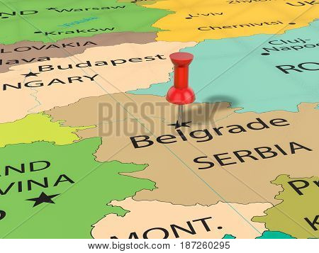 Pushpin On Belgrade Map 3D Illustration