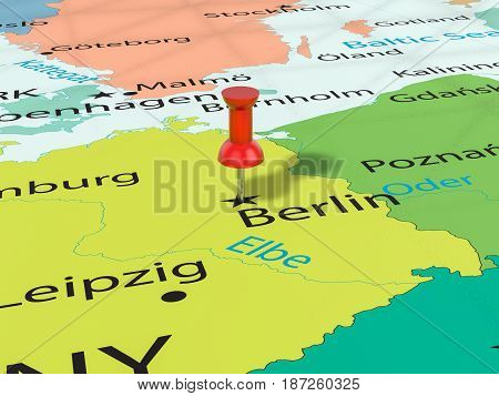 Pushpin On Berlin Map 3D Illustration
