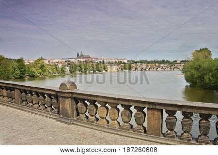 View From The Czechoslovak Legion Bridge Over The River Vltava To The Hradcany In Prague