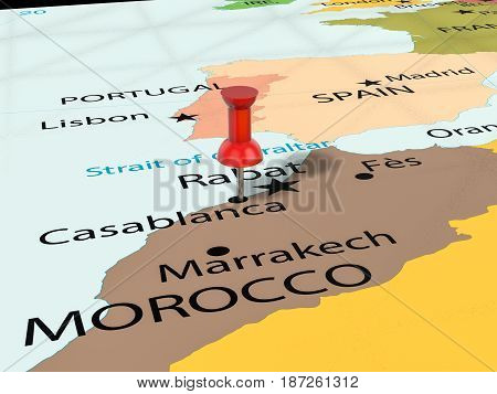 Pushpin On Casablanca Map 3D Illustration
