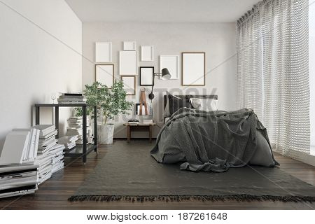 Luxury loft bedroom cluttered with books by wall and decorated with blank picture frames. 3d Rendering.