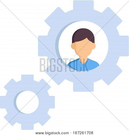 Two light-blue gears with a man in it