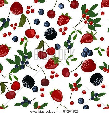 Seamless pattern of berries. Slices of blueberries, cranberries, lingonberries, cherries and strawberries.
