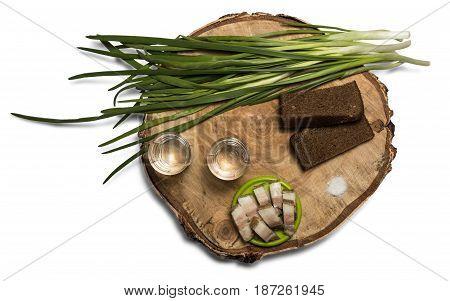 Pork lard vodka and onion on the stump with bread