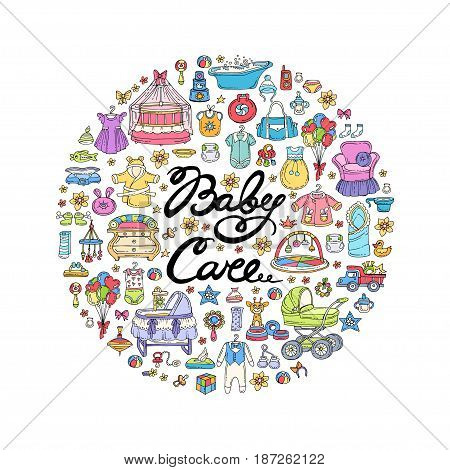 Decorative cover with hand drawn colored symbols of newborn baby on white background. Illustration on the theme of baby care. Vector background for use in design