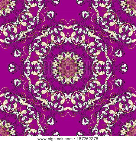 Golden pattern on magenta background with golden elements. Seamless classic golden pattern. Vector traditional orient ornament.