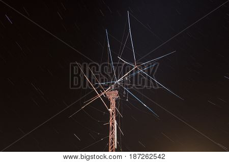 Large antenna on the background of the starry sky