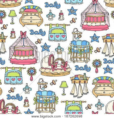 Vector seamless pattern with hand drawn colored furniture and accessories for newborn baby. Pattern on the theme of children's room. Background for use in design packing fabric web site web page