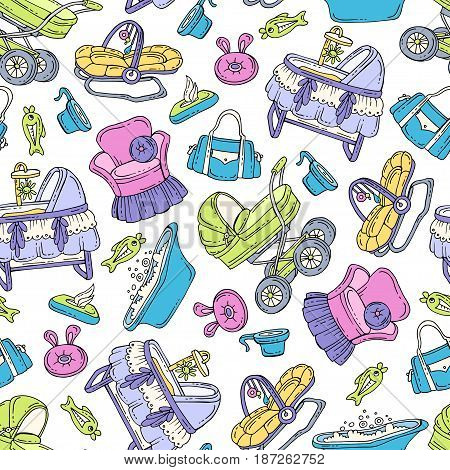 Vector seamless pattern with hand drawn colored goods and accessories for newborn baby. Pattern on the theme of little baby. Background for use in design packing fabric web site web page