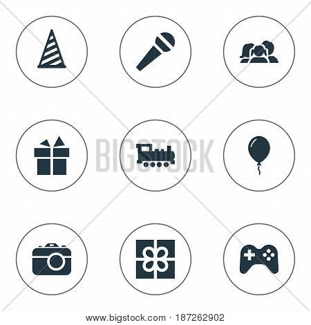 Vector Illustration Set Of Simple Birthday Icons. Elements Speech, Cap, Train And Other Synonyms Present, Camera And Speech.