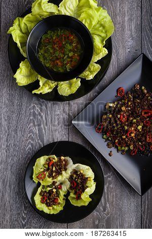 Chilli Beef Lettuce Wraps