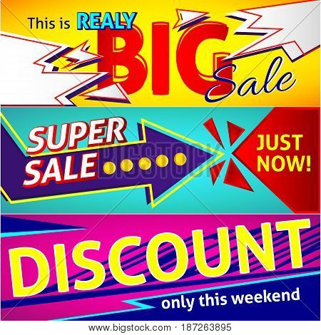 Big sale and discounts template design. Horizontal colorful Sale banners.