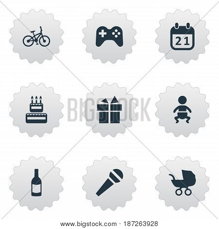 Vector Illustration Set Of Simple Celebration Icons. Elements Speech, Bicycle, Ribbon And Other Synonyms Voice, Stroller And Baby.