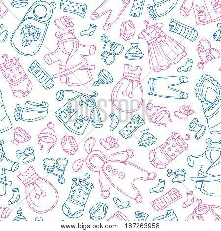Vector seamless pattern with hand drawn isolated clothes for newborn boy and girl. Pattern on the theme of fashion for children. Background for use in design packing fabric web site web page