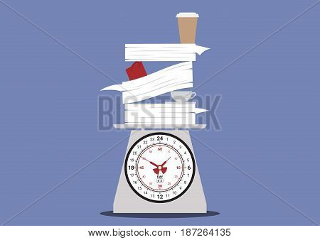 work overtime, work on day clock scales, pile of work with cup of coffee, document paper and coffee above one day time scales, business balance concept, vector illustration