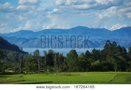 View of Samosir Island. It's located in the midlle of Lake Toba, North Sumatra.