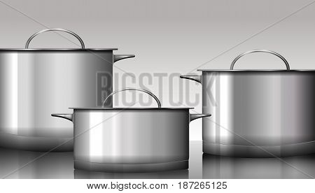 Group of stainless steel kitchenware isolated on white. Vector illustration