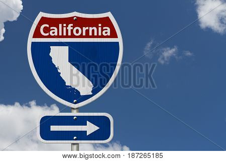 Road trip to California Red white and blue interstate highway road sign with word California and map of California with sky background 3D Illustration