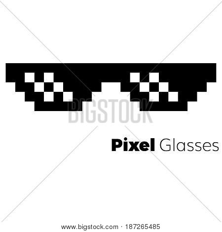 Pixel glasses  vector icon   eps 10 glasses