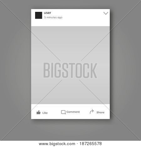 social network post frame isolated with place for  text and photo and like comment and share symbols