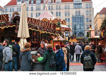Dresden, Germany, December 19, 2016 Christmas market Dresden Celebrating Christmas in Europe