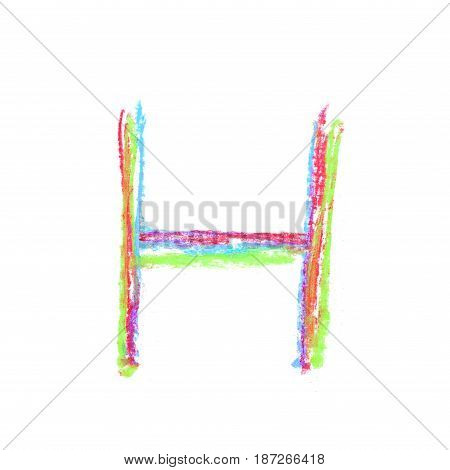 Single hand drawn with the colorful chalk H letter isolated over the white background