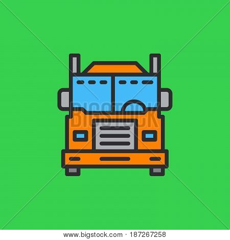 Interstate truck filled outline icon line vector sign flat colorful pictogram. Symbol logo illustration. Pixel perfect