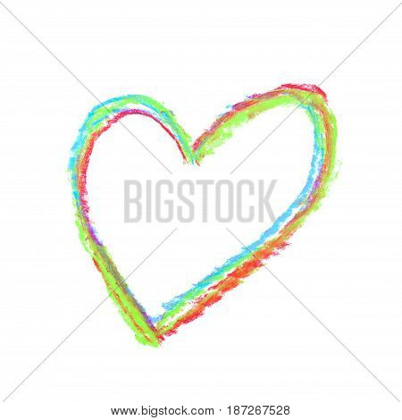 Hand drawn with a colorful chalks heart shape isolated over the white background