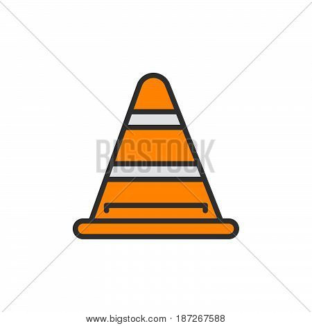 Road traffic cone filled outline icon line vector sign flat colorful pictogram. Under construction symbol logo illustration. Pixel perfect