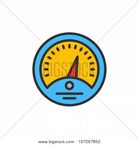 Dashboard filled outline icon line vector sign flat colorful pictogram. Gauge symbol logo illustration. Pixel perfect