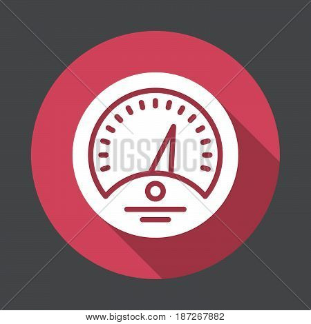 Dashboard flat icon. Round colorful button Gauge circular vector sign with long shadow effect. Flat style design