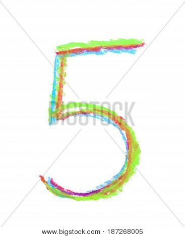 Hand drawn with the colorful chalks number five symbol isolated over the white background