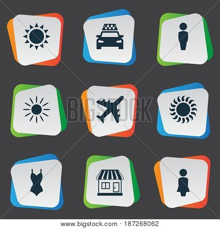 Vector Illustration Set Of Simple Beach Icons. Elements Store, Bikini, Hot And Other Synonyms Trip, Beach And Sunshine.