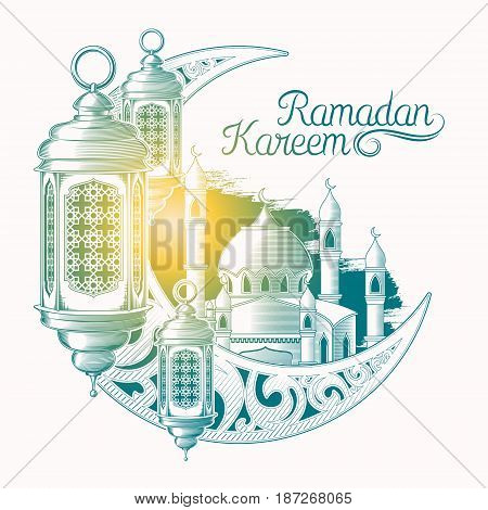 Vector colored illustration for Ramadan Kareem with sketch of Ramadan lantern, towers of mosque, vintage moon isolated on white