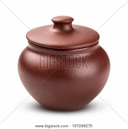 Clay pot isolated isolated on white background, with clipping path