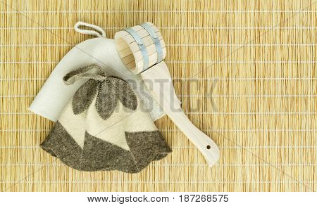 Sauna Accessories On Mat Background