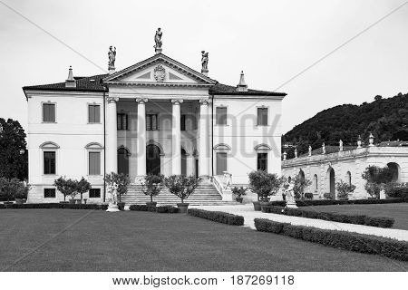 Vicenza Italy - May 13 2015: Villa Cordellina Lombardi built in 18th century on a design by architect Giorgio Massari.
