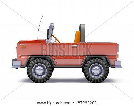 Red safari suv side view in retro cartoon style isolated on white. 3d illustration.