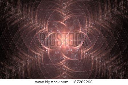 An abstract image of a flower with a luminous center with lightnings and concentric petals diverging to the edges of the composition